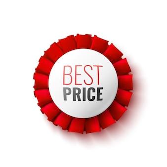 Bannière de vente meilleur prix avec ruban rouge badge rond illustration vectorielle