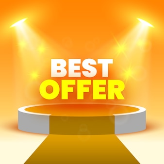 Bannière de vente de la meilleure offre sur scène pour la cérémonie de remise des prix avec des projecteurs