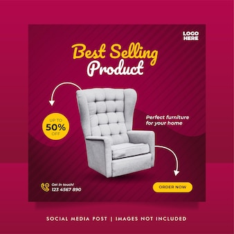 Bannière de vente de meubles exclusive ou modèle de publication de médias sociaux