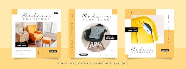 Bannière de vente de meubles minimaliste ou modèle de publication sur les médias sociaux