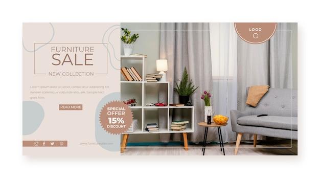 Bannière de vente de meubles plats organiques avec photo