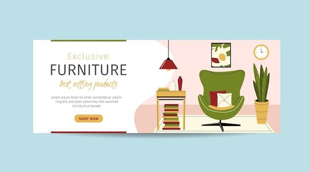 Bannière de vente de meubles plats organiques