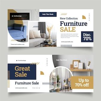 Bannière de vente de meubles plats avec photo