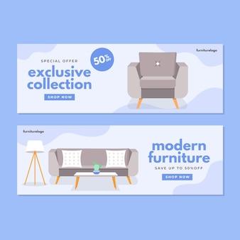 Bannière de vente de meubles plats
