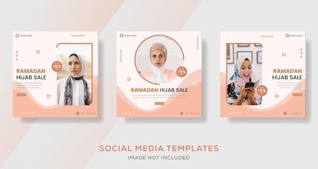 Bannière de vente de mode hijab pour le modèle social des médias ramadan kareem