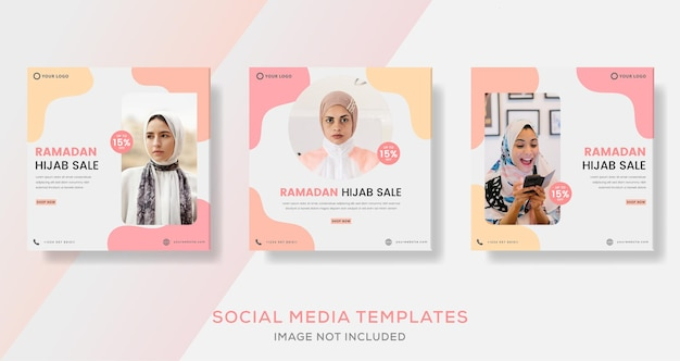 Bannière de vente de mode hijab ramadan pour la publication de modèle social de médias