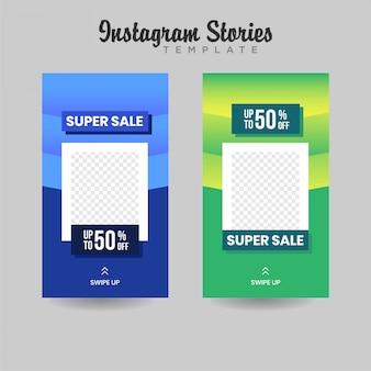Bannière de vente de modèles d'histoires instagram