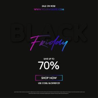 Bannière de vente moderne black friday avec un design minimal