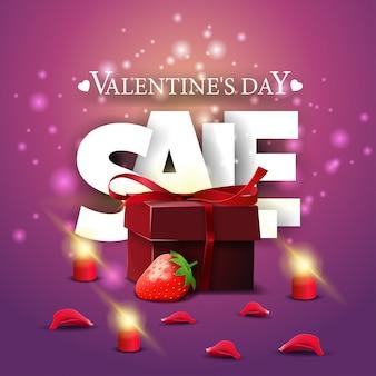 Bannière de vente moderne pourpre saint valentin avec cadeau