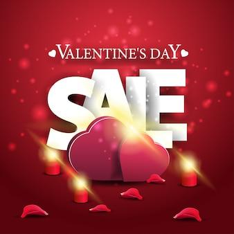 Bannière de vente moderne saint valentin rouge avec deux coeurs