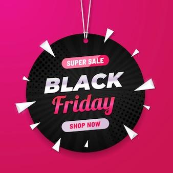 Bannière de vente moderne vendredi noir avec étiquette