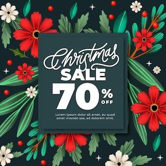 Bannière de vente de noël aquarelle avec des fleurs