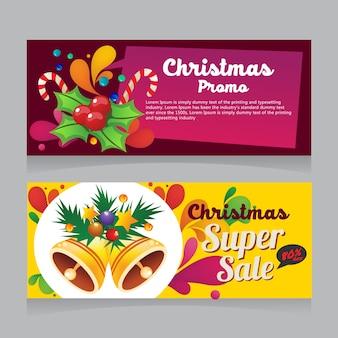 Bannière de vente de noël coloré