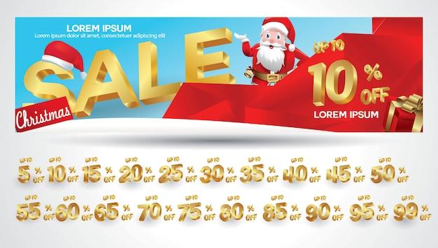 Bannière de vente de noël avec étiquette de remise 10,20,30,40,50,60,70,80,90,99 pour cent
