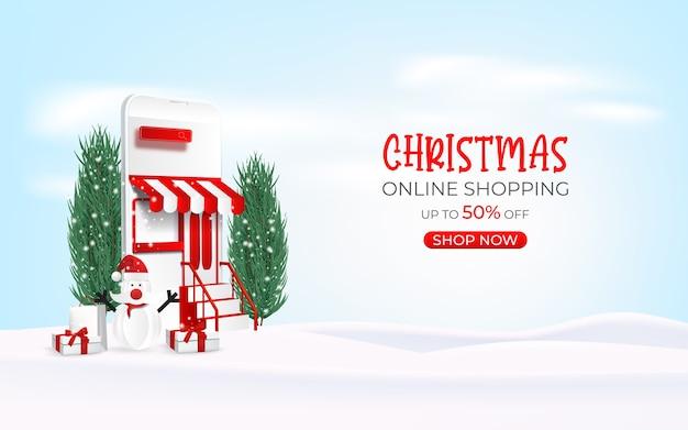 Bannière de vente de noël en ligne, achats en ligne sur téléphone mobile et site web.