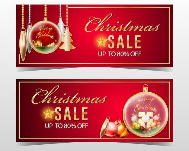 Bannière de vente de noël sertie de décoration sur fond rouge.