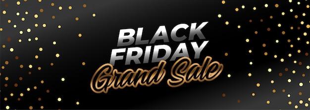 Bannière de vente noir vendredi ggrand dans le thème de l'or