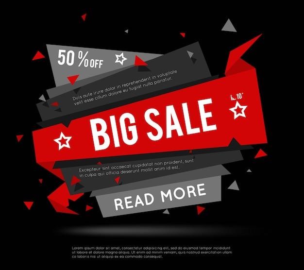 Bannière de vente noire. étiquette big sale ou super sale banner pour les brochures avec soldes et remises