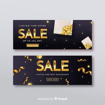 Bannière de vente noire avec inscription dorée