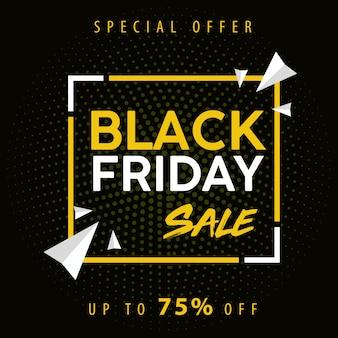 Bannière de vente noire vendredi en jaune