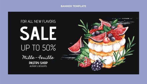 Bannière de vente de nourriture aquarelle