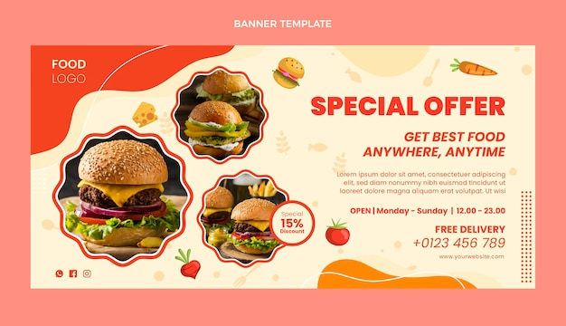 Bannière de vente de nourriture design plat avec offre spéciale