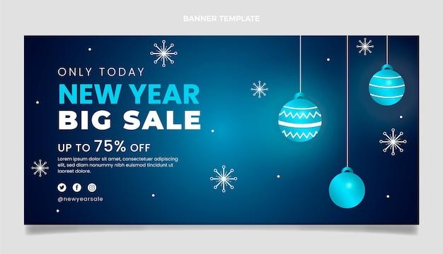 Bannière de vente de nouvel an horizontal dégradé