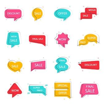 Bannière de vente d'offre spéciale. grandes icônes de remise méga. ensemble de bulles. cadres de chats de couleur pour votre conception. illustration vectorielle.