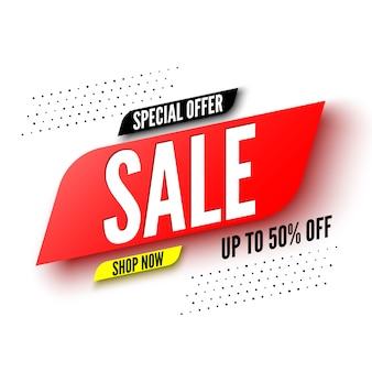 Bannière de vente offre spéciale, jusqu'à 50% de réduction.