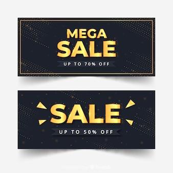 Bannière de vente en or moderne
