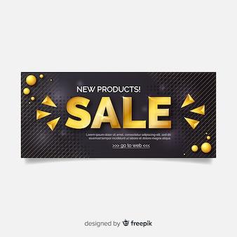 Bannière de vente d'or et noir