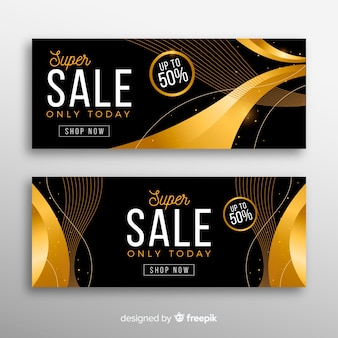 Bannière de vente en or avec une remise spéciale