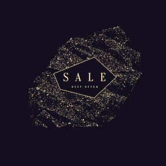 Bannière de vente. paillettes d'or. particules brillantes sur fond sombre. illustration vectorielle