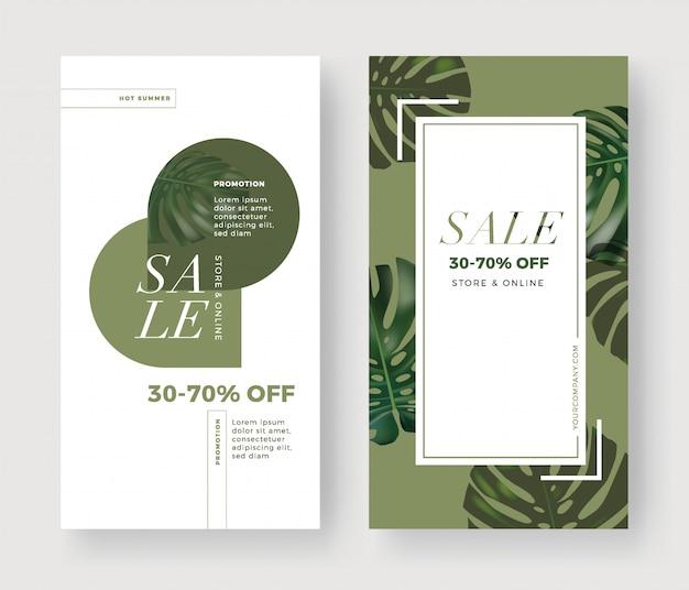 Bannière de vente avec palmier