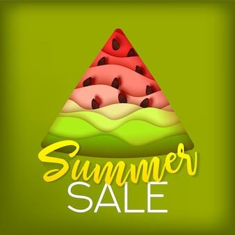 Bannière de vente de papier de pastèque d'été