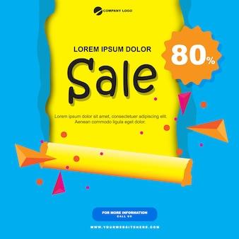 Bannière de vente de papier plat bleu et jaune