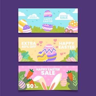 Bannière de vente plate de pâques
