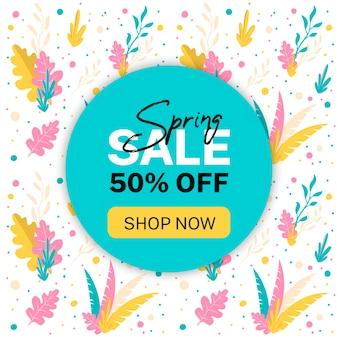 Bannière de vente de printemps. 50% de réduction