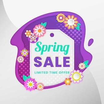Bannière de vente de printemps au design plat