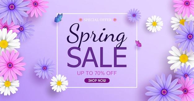 Bannière de vente de printemps avec de belles fleurs colorées fleurissent.