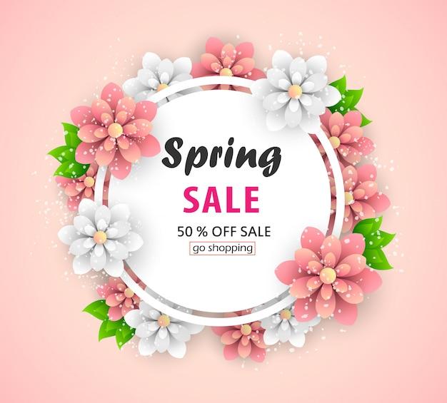 Bannière de vente de printemps avec de belles fleurs.