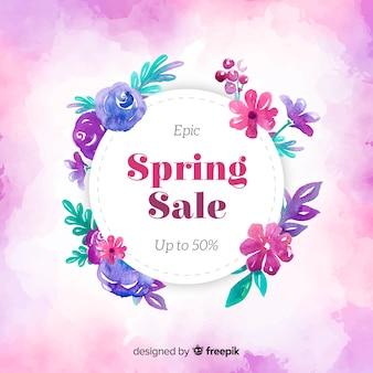 Bannière de vente de printemps de cadre aquarelle cerclé