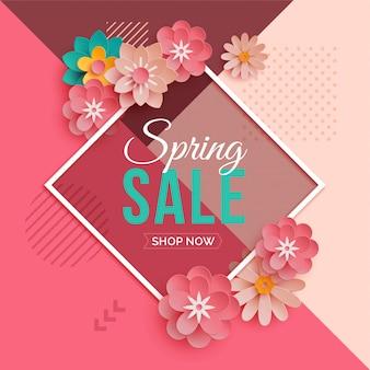 Bannière de vente de printemps de cadre de diamant avec des fleurs en papier