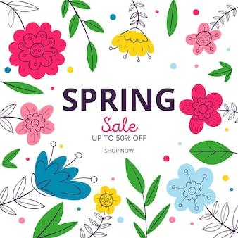 Bannière de vente de printemps carré dessiné à la main avec des fleurs