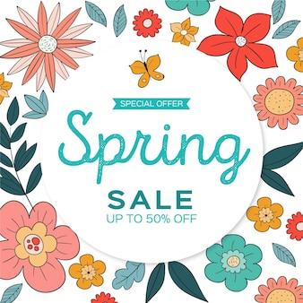 Bannière de vente printemps carré floral dessiné à la main