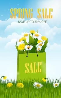 Bannière de vente de printemps avec champ