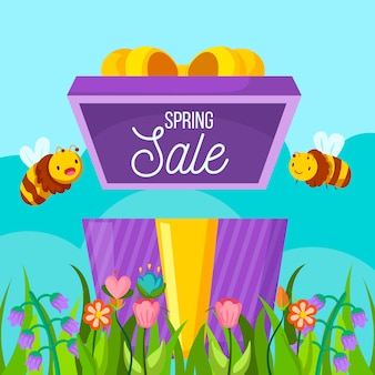 Bannière de vente de printemps design plat avec des abeilles