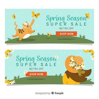 Bannière de vente printemps dessiné main fille et chat