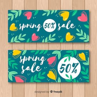 Bannière de vente de printemps dessiné à la main