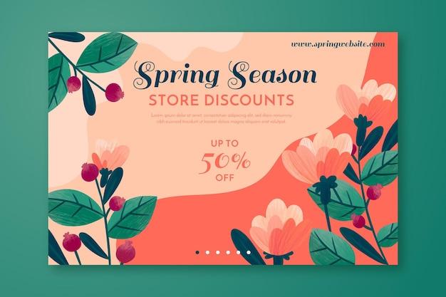 Bannière de vente de printemps dessinée à la main